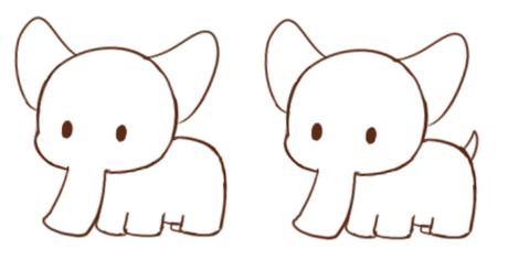 可爱的卡通小象卡通画绘画教程 小象怎么画 大象简笔画(2)