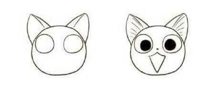 动漫头部画法_手绘甜甜私房猫卡通画教程 甜甜私房猫怎么画 简笔画[ 图片/6P ...