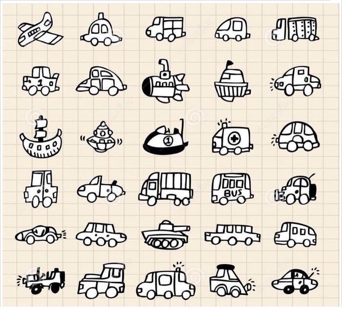 各种卡通小汽车和飞机的简笔画合集 幼儿交通工具卡通