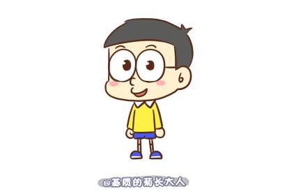 q版大雄卡通画手绘教程 可爱哆啦a梦大雄简笔画画法(2