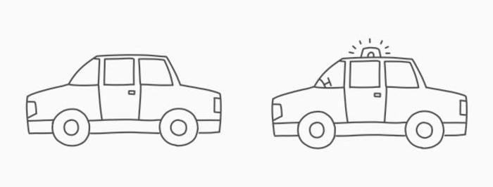 最主要的标志就是警车订上的车灯了对不对.