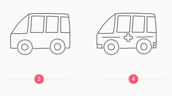 卡通120救护车简笔画卡通画画法