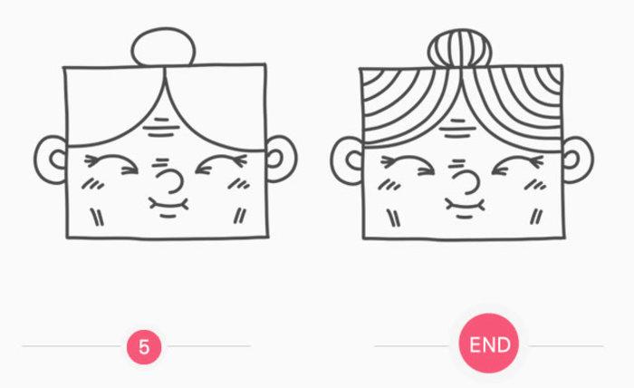 慈祥方脸老奶奶头部创意可爱儿童画简笔画教程 手绘卡通画画法(2)