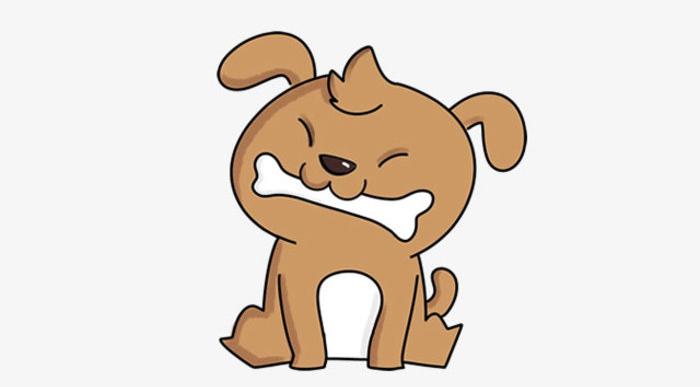 前面一篇文章我们分享了一只有点狡猾的小猫咪,这篇紧跟着我们来学习画一只一看就是忠厚老实的小狗狗,看着这可爱憨厚的模样就想去抚摸一下有没有。这只小狗狗蹲着嘴里还叼着一根狗骨头,貌似很美味的样子哦。 这次我们从局部开始画起,先画小狗狗的鼻子,一个三角形的鼻子加上一个倒着的字母3就画出了狗狗的鼻子和嘴巴哦。然后我们画上小狗骨头就很有感觉了对不对。 笑眯眯的小眼睛加上一缕毛发。当然画出脸部的轮廓之后就更加完整形象了。狗狗的耳朵也是很有标志性的哦。 头部基本画好之后我们就开始画狗狗的身体和脚,是坐着的姿势,因此前