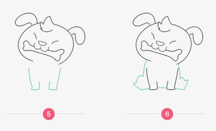 叼着骨头的小狗狗儿童画画法 调皮可爱的坐着的狗狗简笔画手绘教程