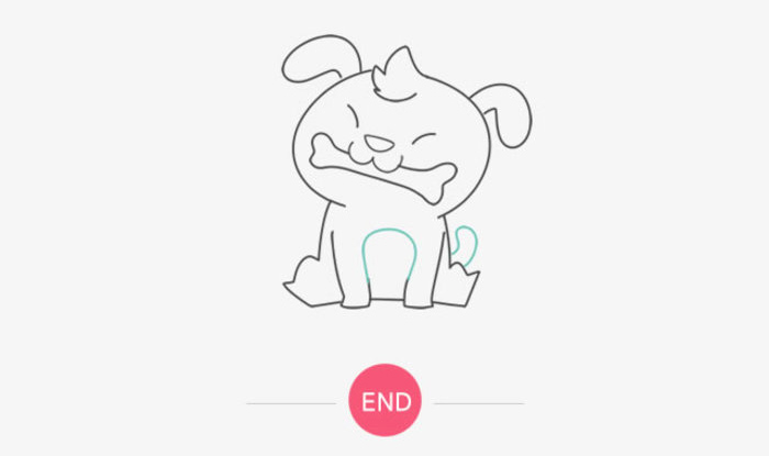 叼着骨头的小狗狗儿童画画法 调皮可爱的坐着的狗狗简