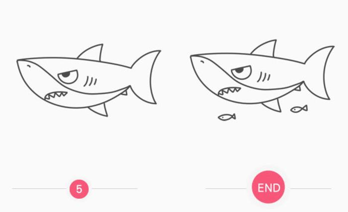 厉害的大鲨鱼可爱儿童画画法 海洋动物鲨鱼的简笔画手绘绘画教程(2)