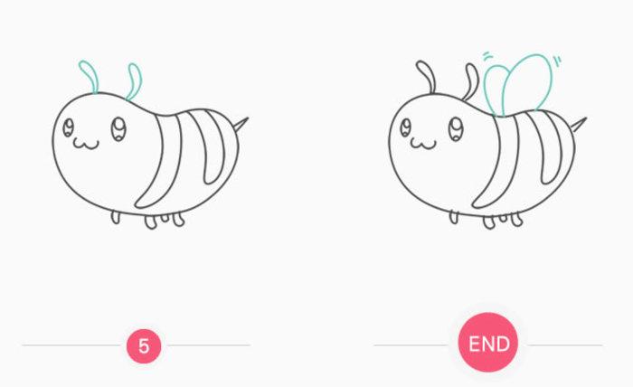 胖嘟嘟可爱的小蜜蜂简笔画卡通画画法 飞舞的小蜜蜂儿童画手绘教程图片