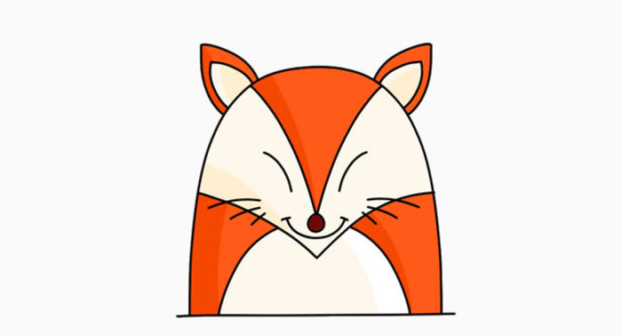 可爱的小狐狸简笔卡通画怎么画 小狐狸儿童画手绘教程