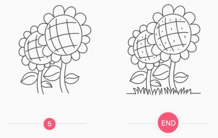 向日葵的儿童画简笔画画法 向日葵手绘教程图解(2)