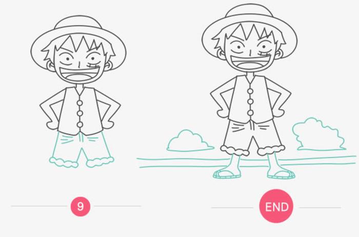 海贼王路飞简笔画画法 路飞的简单画法手绘教程(2)
