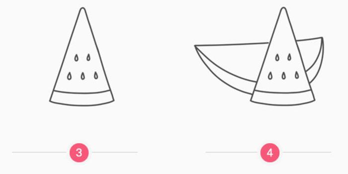 切开的西瓜怎么画 西瓜简笔画 一瓣西瓜儿童画卡通画画法