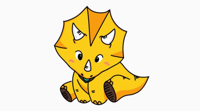 可爱三角龙怎么画 可爱的恐龙宝宝卡通画 三角龙空灵简笔画儿童画画法