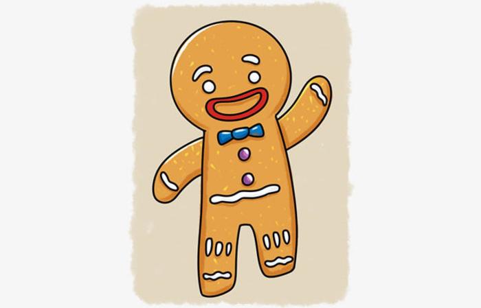 可爱的姜饼人简笔画卡通画画法手绘教程