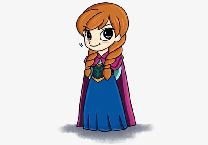安娜公主怎么畫 迪斯尼公主的畫法 安娜公主簡筆畫卡通畫兒童畫教程