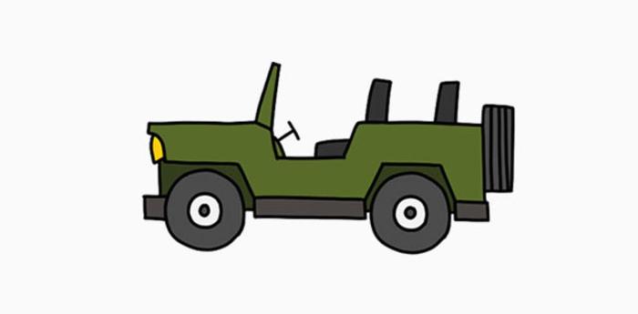 吉普车怎么画 吉普越野车简笔画 简单的吉普儿童卡通画画法手绘教程