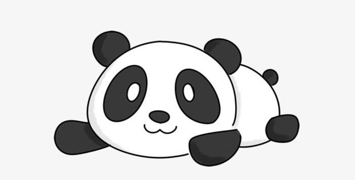 可爱又剪刀的小熊猫画法 大熊猫简笔画教程 熊猫儿童画卡通画手绘