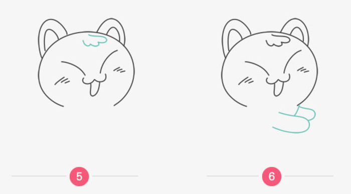 一只可愛的小貓咪跳進我們的才藝君了,小貓咪是現代人都會很喜歡的一種寵物,特別是女生,更是喜歡養貓做寵物。網上關于貓星人的各種段子和圖片也是層出不窮。所以喜歡畫卡通畫的同學們怎么能不會畫貓咪呢。 我們先來畫貓咪開心的瞇成縫的眼睛,其實就是一個外八字的弧度線條了。