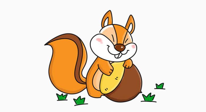 可爱小松鼠卡通画画法小松鼠简笔画松鼠儿童画绘画手绘教程 图片 5P