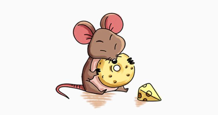 吃奶酪的小老鼠卡通画 老鼠简笔画画法 老鼠儿童画教程手绘
