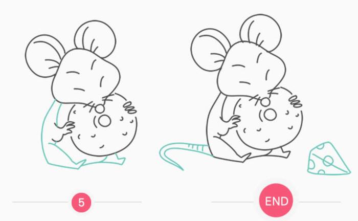 吃奶酪的小老鼠卡通画 老鼠简笔画画法 老鼠儿童画教程手绘(2)