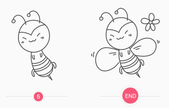 蜜蜂卡通画的画法 小蜜蜂简笔画怎么画 蜜蜂的儿童画教程画法(2)