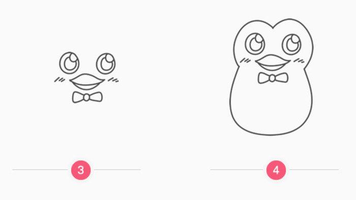 小企鹅的卡通画画法 企鹅简笔画教程 企鹅怎么画 企鹅
