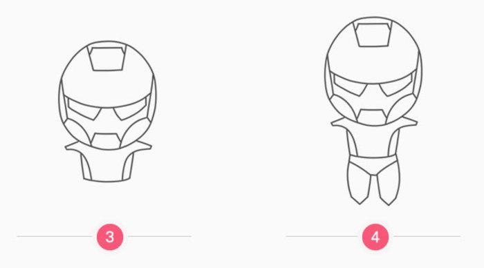 钢铁侠卡通画怎么画 q版钢铁侠简笔画怎么画 机器人钢铁侠儿童画画法