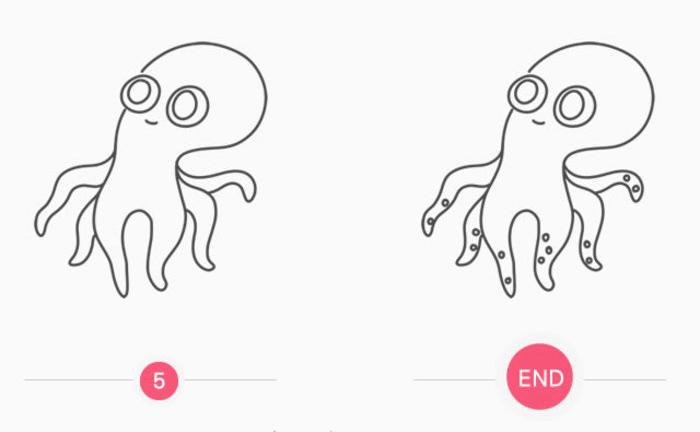 章鱼简笔画怎么会 章鱼卡通画 简单章鱼儿童画画法 章鱼手绘线稿白描