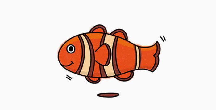 小丑鱼是小朋友们都喜欢的一只海洋鱼类,主要是电影动画片海底总动员的宣传,小编也十分都喜欢,今天我们就来画一只小丑鱼的卡通画,十分的可爱哦。 首先我们画鱼的外轮廓,上半部和下半部的轮廓s一种对称的感觉,画出鱼的形状就有感觉了。 可爱的小眼睛和嘴巴,小丑鱼还有标志性的花纹,一条一条的条纹在身体上。 再丰富出更多的花纹和鱼鳍这类的装饰。 来源:微博/网络  原作者:@ 图片水印