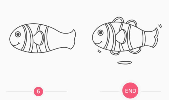 可爱小丑鱼卡通画画法 小丑鱼怎么画 小丑鱼儿童画简笔画教程 2