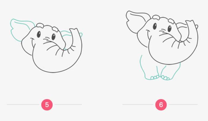 可爱的小象卡通画画法 大象简笔画怎么画 小象儿童画绘画教程