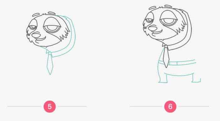 树懒闪电怎么画 疯狂动物称里的树懒闪电画法 树懒简笔画卡通画儿童画