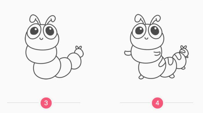可爱的小青虫简笔画画法 小青虫怎么画 青虫儿童画教程
