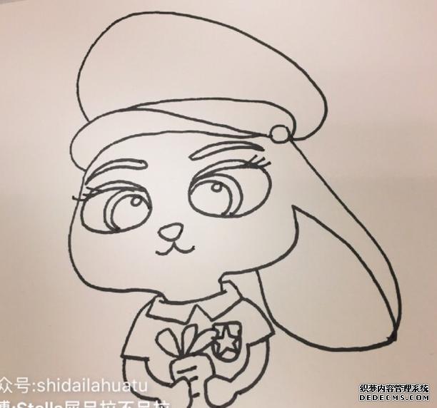 10步以内《疯狂动物城》中的兔子画法 兔子儿童画教程_www.