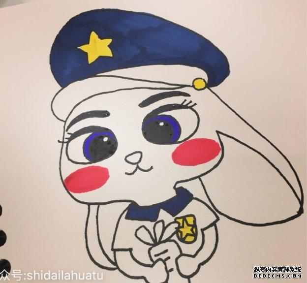 可爱的兔子警官朱迪怎么画 10步以内《疯狂动物城》中的兔子画法 兔子