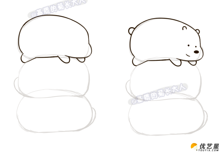 叠在一起的小熊的简笔画教程