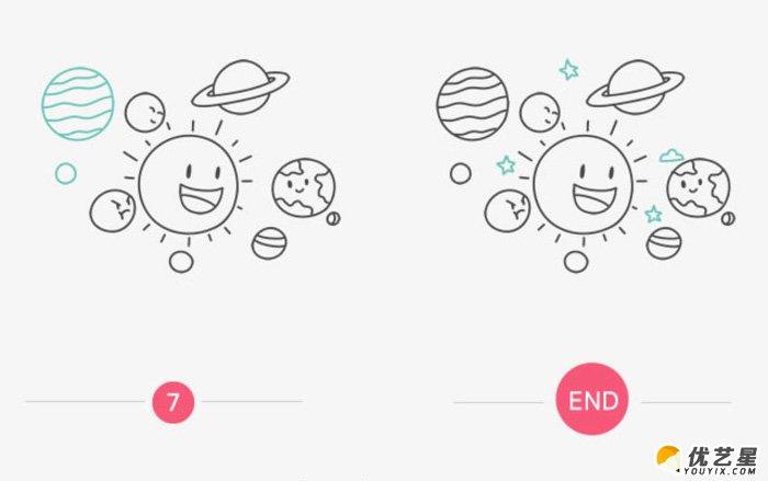 卡通星球怎么画 太阳系简笔画 可爱太阳带星球卡通画画法(2)