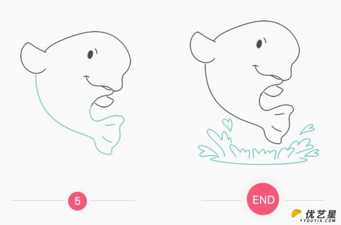 快乐的鲸鱼卡通画 简单跳出水面的鲸鱼简笔画画法 鲸鱼儿童画画法(2)