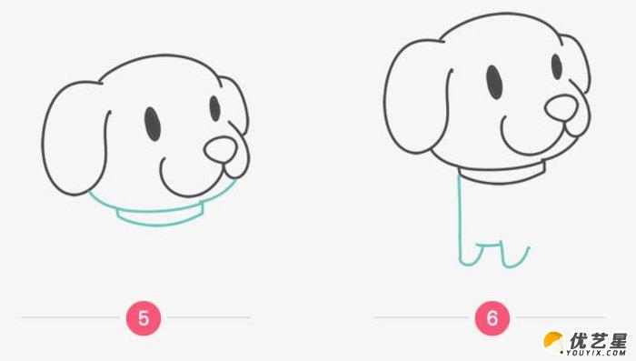很萌很可爱的小狗简笔画画法 超可爱的狗狗卡通画绘画
