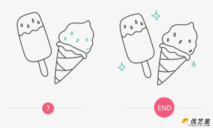 雪糕冰激凌怎么画 简单夏天冷饮简笔画画法 可爱的雪糕冰激凌卡通画教图片