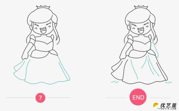 美麗的公主怎么畫 公主簡筆畫 公主卡通畫 簡單的公主