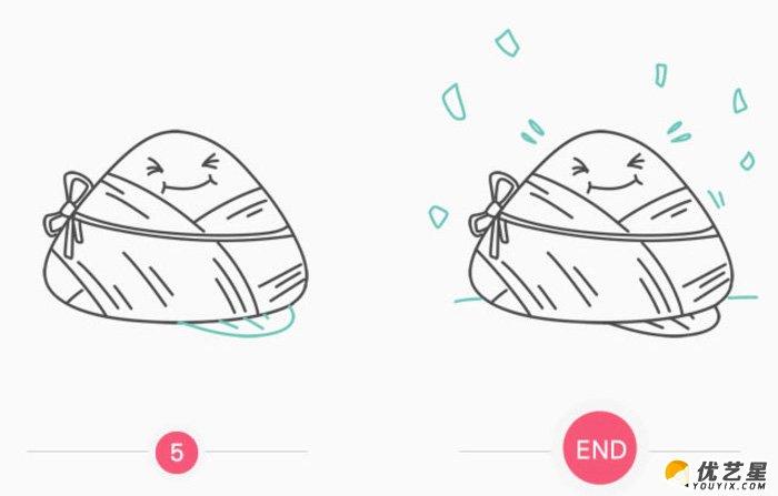 可爱的粽子怎么画 简单粽子简笔画画法 粽子卡通画教程(2)
