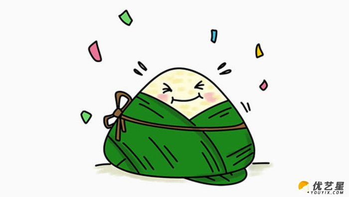 可爱的粽子怎么画 简单粽子简笔画画法 粽子卡通画教程图片