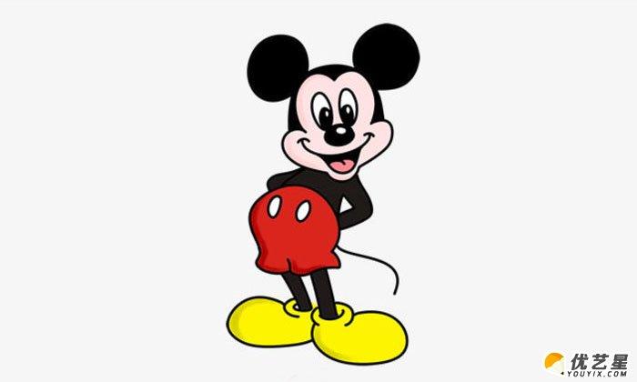 迪士尼米老鼠简笔画 米老鼠的画法 可爱调皮的米老鼠_www.