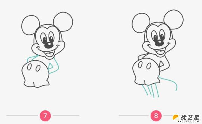 继续画米老鼠的脚和尾巴,手这些细节.图片