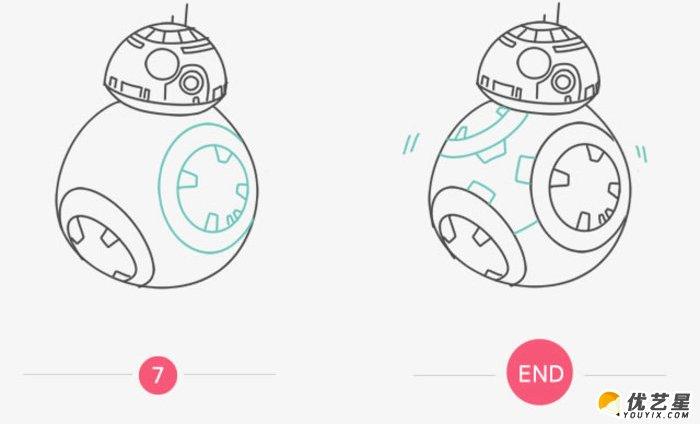 星球大战bb-8机器人简笔画画法 机器人卡通画教程 星球大战bb-8机器人