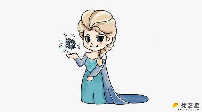 单冰雪女王艾莎简笔画画法 艾莎的画法