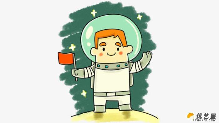 宇航员怎么画 穿着宇航服的宇航员简笔画 简单的宇航员卡通画画法