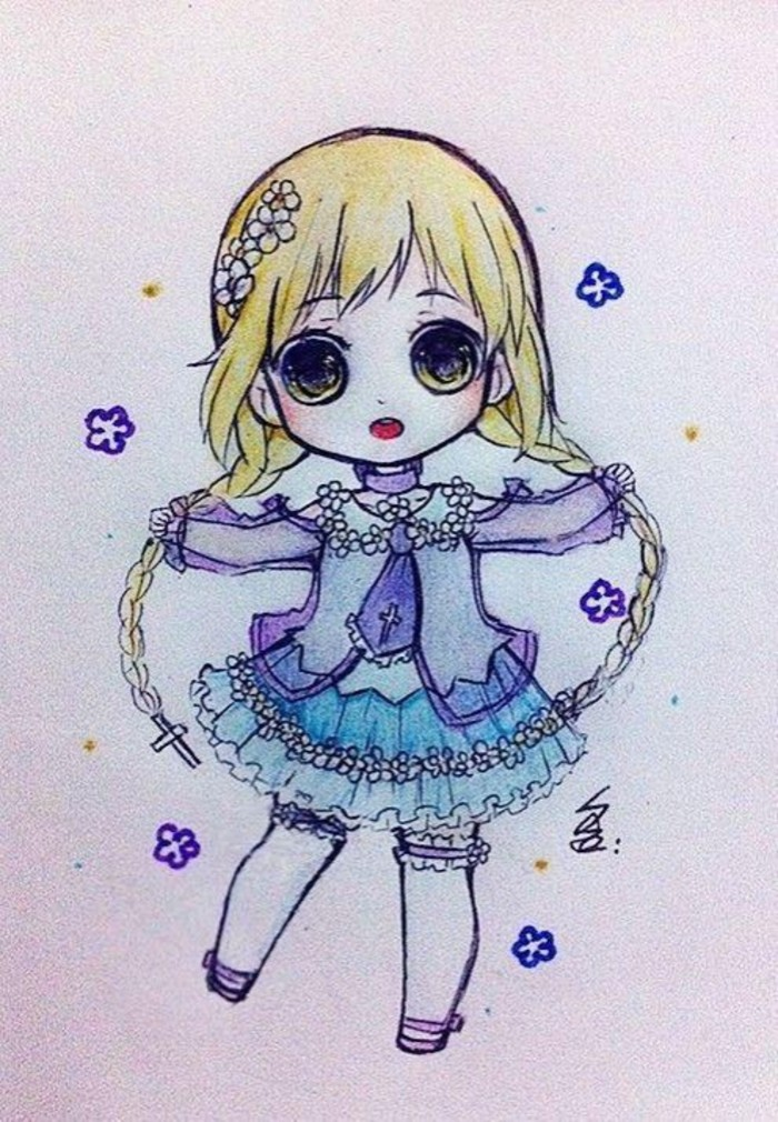 129张精美q版小女生卡通画手绘作品手稿带上色 清纯